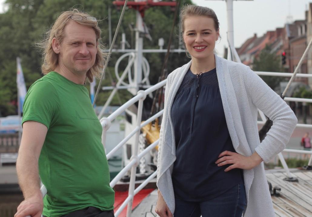 Chris Ostermann (Regie) & Clara Beutler (Moderation/Redaktionsleitung) auf dem Filmfest Emden